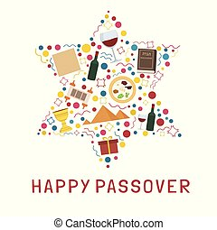 Passover holiday flat design icons set in star of david...