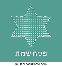 Passover holiday flat design white thin line icons of matzot...