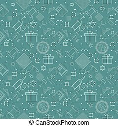 Passover holiday flat design white thin line icons seamless...
