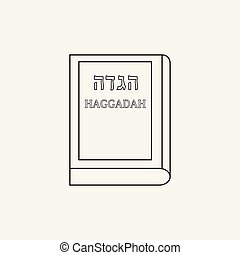 Passover holiday haggadah book flat black outline design...