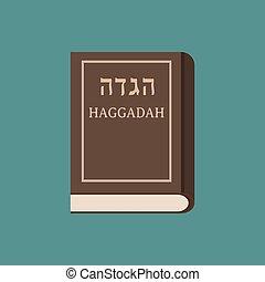 Passover holiday haggadah book flat long shadow design icon.
