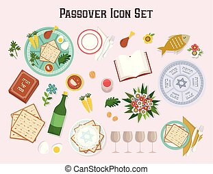Passover icon set with Seder plate Hagadah and wine-Vector...