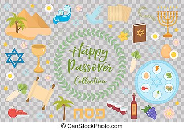 Passover icons set. flat, cartoon style. Jewish holiday of exodus Egypt. Collection with Seder plate, meal, matzah, wine, torus, pyramid. Isolated on white background Vector illustration.