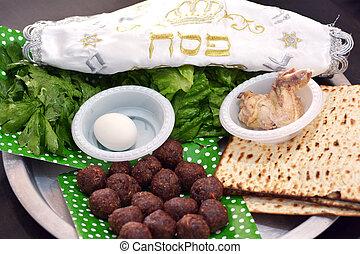 Passover seder plate - Jewish holidays - Close up of...