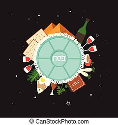 Passover seder plate with flat traditional icons over night background. Passover in Hebrew. greeting card design template. vector illustration