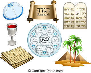 Passover Symbols Pack - Vector illustration of objects...