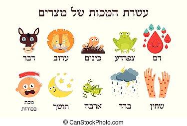 Passover Ten Plagues of Egypt in Hebrew- Vector