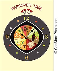 passover time. - abstract clock with symbols of passover, ...