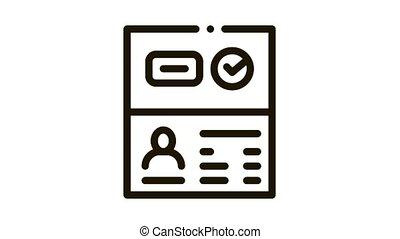 Passport Access Icon Animation. black Passport Access animated icon on white background