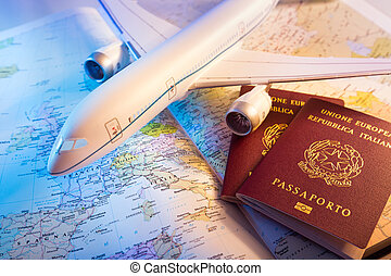 passport, airplane and map