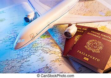passport, airplane and map