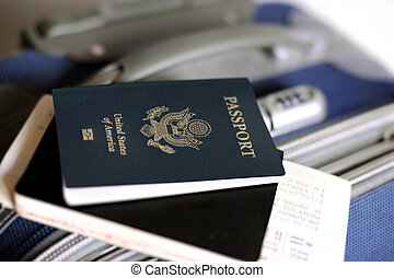 Passport - An image of a passport and tickets on a valise