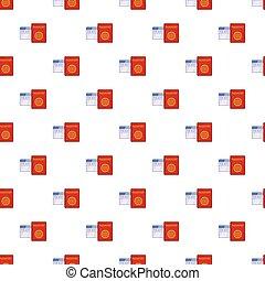 Passport and air ticket pattern, cartoon style