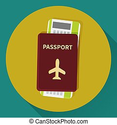 Passport and boarding pass ticket icon. Flat design. Vector...