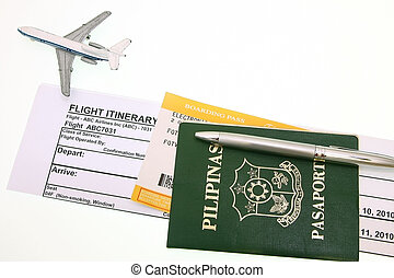 Passport And Boarding Pass with itinerary ticket