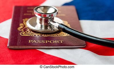 Passport and stethoscope on flag.