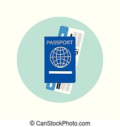 Passport And Ticket On Plane Icon Travel Documents Concept
