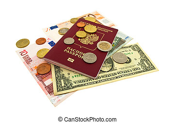 passport, banknotes and coins