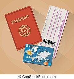 Passport boarding pass ticket bank card