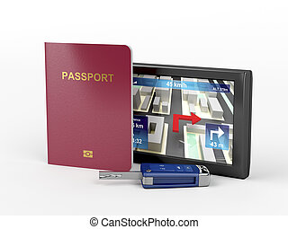 Passport, car key and navigation device