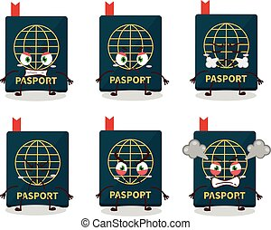Passport cartoon character with various angry expressions