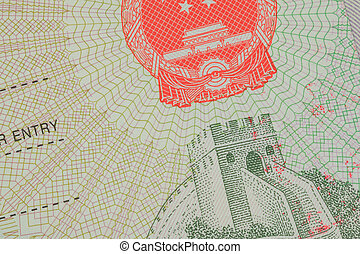 Passport Chinese visa for travel concept background