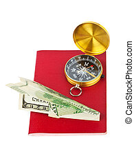 Passport, compass and money plane - travel concept
