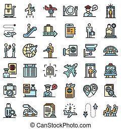 Passport control icons set flat
