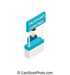 Passport control isometric 3d icon isolated on a white ...