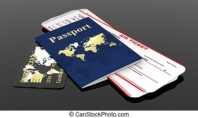 Passport, credit card and two air tickets isolated on black ...