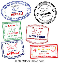Passport grunge stamps from Marseille, Beijing, Lazio, New...