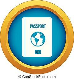Passport icon blue vector isolated