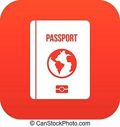 Passport icon digital red