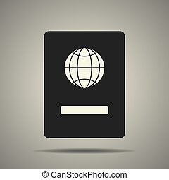passport icon in black and white colors