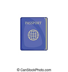 Passport icon in cartoon style