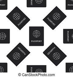 Passport icon seamless pattern on white background. Vector Illustration