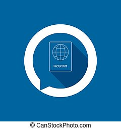 Passport icon with globe on blue background.