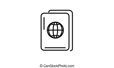 Passport line icon is one of the Travel and Landmarks icon set. File contains alpha channel. From 2 to 6 seconds - loop.