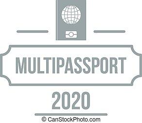 Passport logo, simple gray style