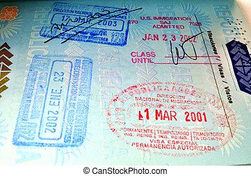 Passport - Migration stamps on passport.