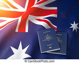 Passport of Australia on the australian flag. Getting a passport of Australia,  naturalization and immigration concept.
