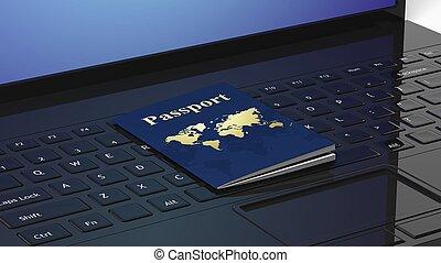 Passport on black laptop keyboard
