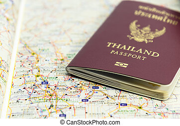 Passport on map ready to travel