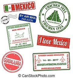 Passport or travel set of grunge stamps from Mexico