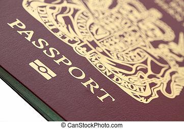 passport - macro of a biometric British  passport