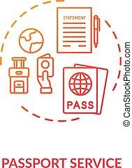 Passport service concept icon. Abroad travel. Tourist visa ...