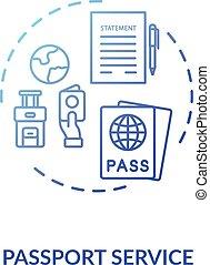 Passport service concept icon. Abroad travel. Visa ...