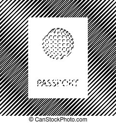 Passport sign illustration. Vector. Icon. Hole in moire backgrou