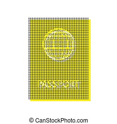 Passport sign illustration. Vector. Yellow icon with square patt
