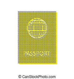 Passport sign illustration. Vector. Yellow icon with square patt